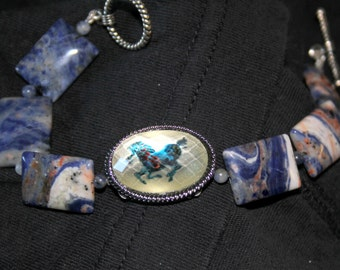 Blue Denim Crazy Lace Agate and Lapis Beads with Horse Cabochon Bracelet