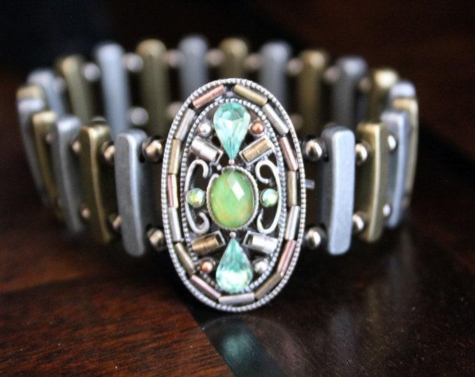 Pewter and Brass Stretch Cuff Bracelet
