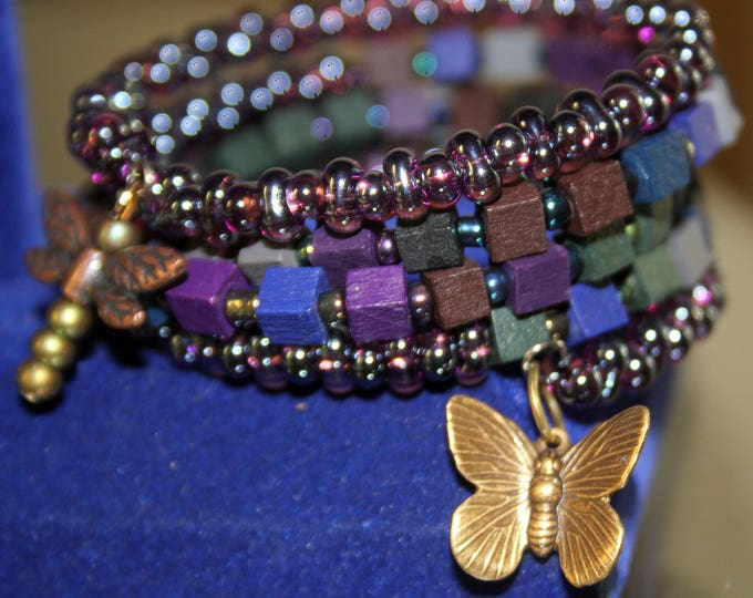 Purple Wood and Czech Glass Seed Bead Stackable Wrist Wrap Cuff Bracelet