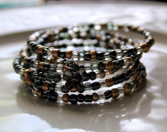 Black and Gold Seed Bead Mix Wrist Wrap Stackable Cuff Bracelet