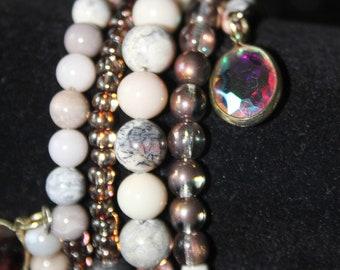 Gray Jasper Stone Wrap Cuff Bracelet