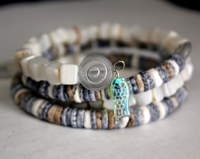Driftwood Colored Wrap Cuff Memory Wire Bracelet
