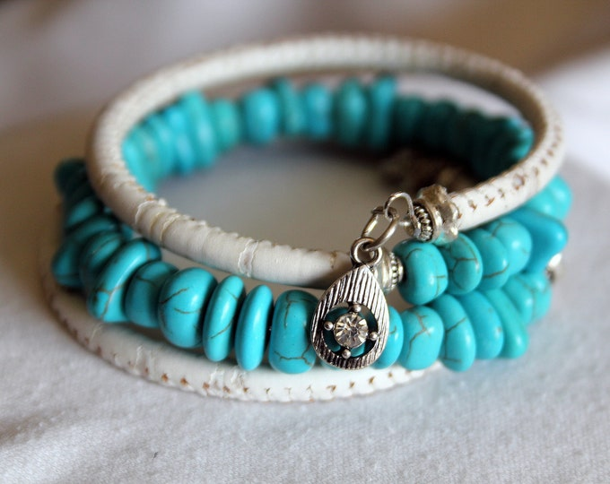 White Leather and Turquoise Wrist Wrap Cuff Stackable Bracelet
