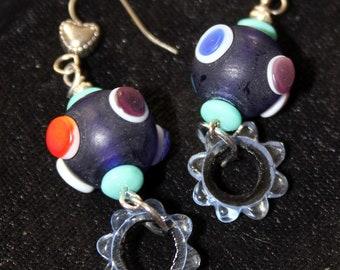 Blue Glass Boho Style Earrings