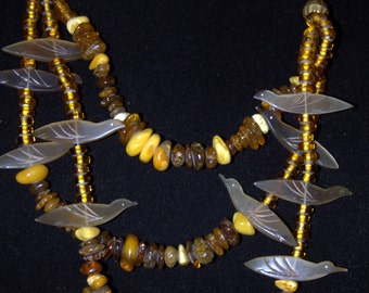 Amber Chunky Beads and Carved Buffalo Horn Birds Necklace on Leather