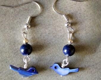 Little Lapis Bird Earrings