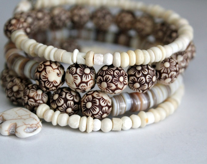 Brown and Cream Beaded Wrist Wrap Memory Wire Cuff