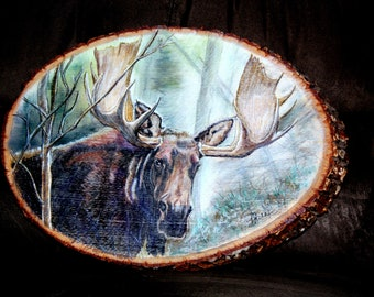Forest King - Original Painting of Bull Moose on Native Montana Larch Wood Slice