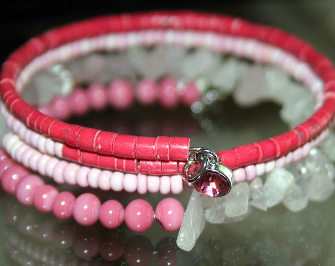 Pink Heishi and Rose Quartz Wrap Cuff Stackable Bracelet
