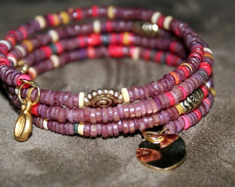 Maroon and Dark Red Heishi Wrist Wrap Cuff Bracelet with Crystal and Hand Hammered Gold Tone Charm