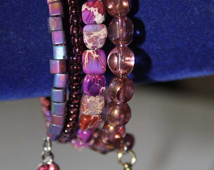 Fuschia and Pink Sea Jasper Stone and Glass Beaded Wrist Wrap Stackable Cuff Bracelet