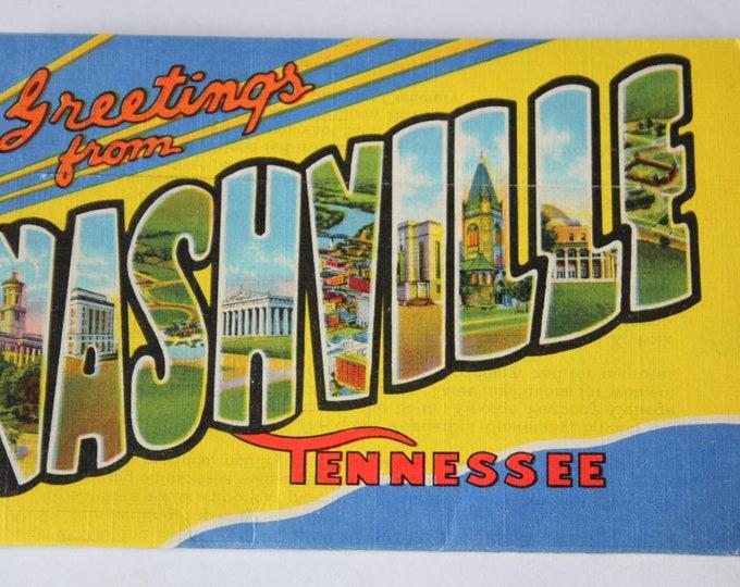 Vintage 1938 Nashville Tennessee Linen Postcard Mailer