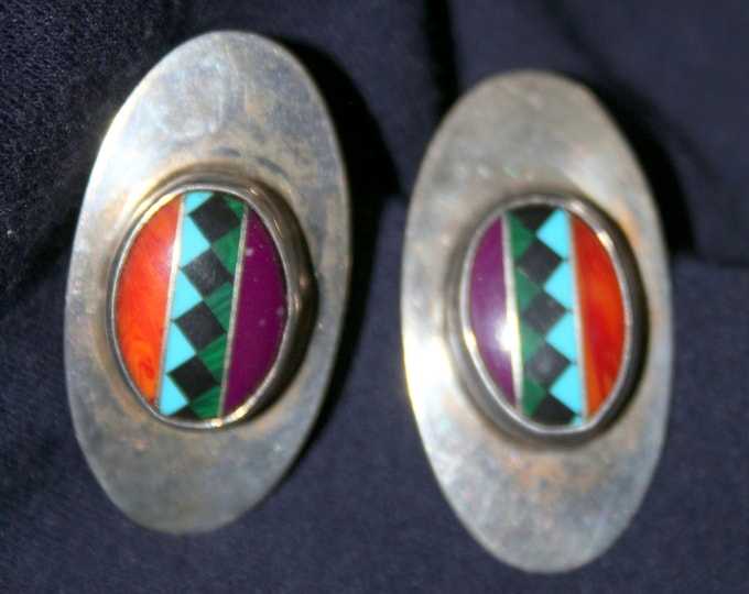 Vintage Mathews Stamped Sterling Silver and Stone Inlaid Navajo Earrings