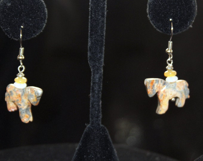 Picasso Agate Tiny Horses Earrings