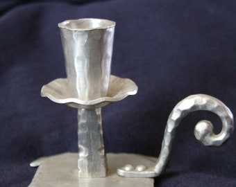 Pair of Mid-Century Vintage Everlast Forged Aluminum Colonial Revival Style Candlesticks