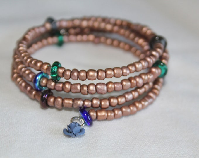 Copper Seed Bead and Glass Stackable Wrist Wrap Cuff Bracelet