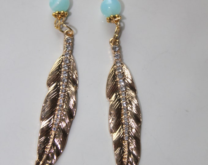 Gold Pave Feather and Peruvian Opal Bead Earrings