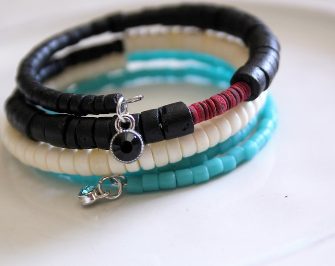 Black, White and Red Heishi Wrist Wrap Cuff Stackable Bracelet