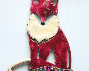 Fox Ornaments/Wall Plaque Painted with Enamel on Wood, Several Colors
