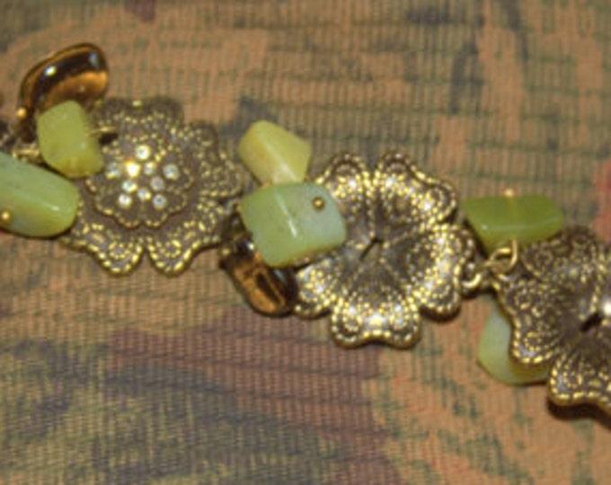 Jade, Brass Flowers and Apache Tear(Obsidian) Drops Bracelet