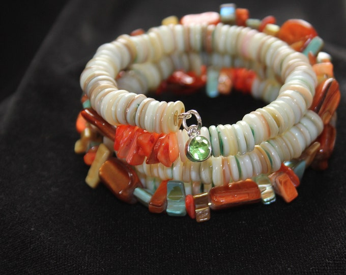 Natural and Dyed Shell  in Orange and Sea Green Memory Wire Wrist Wrap Cuff Stackable Bracelet