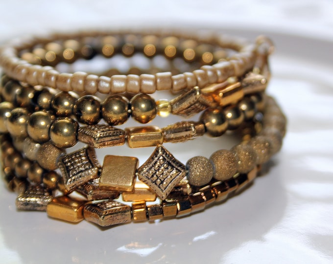 Antique Gold Toned Brass and Beads Wrist Wrap Stackable Cuff Bracelet