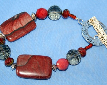 Picture Jasper and Gray Crystal Toggle Bracelet