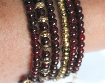 Garnet Red Czech Druk (Round) Glass Beads with India Brass Beads Wrist Wrap Stackable Cuff Bracelet