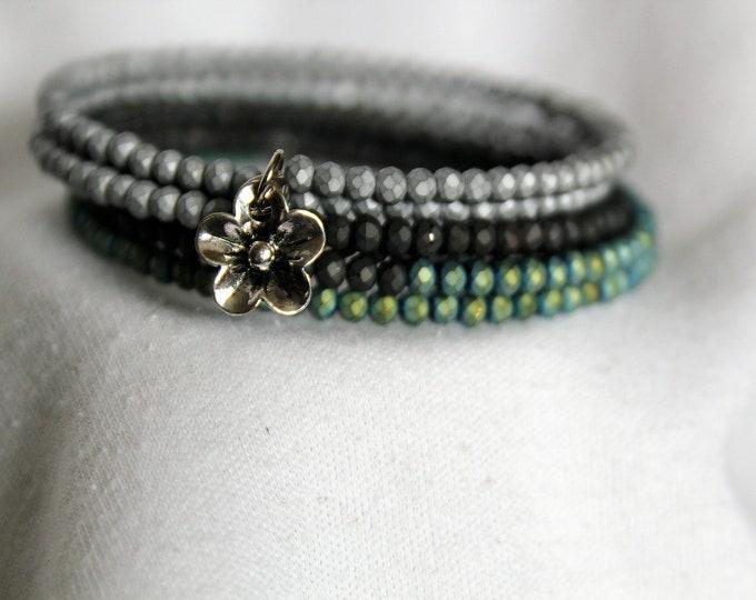 Raku Metallic Finished Turquoise, Black and Gray Seed Bead Stackable Wrist Wrap Cuff