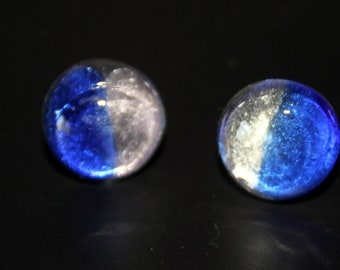 Phases of the Moon Fused  Dichroic Glass Button Stud Backed Earrings in Several Color Choices