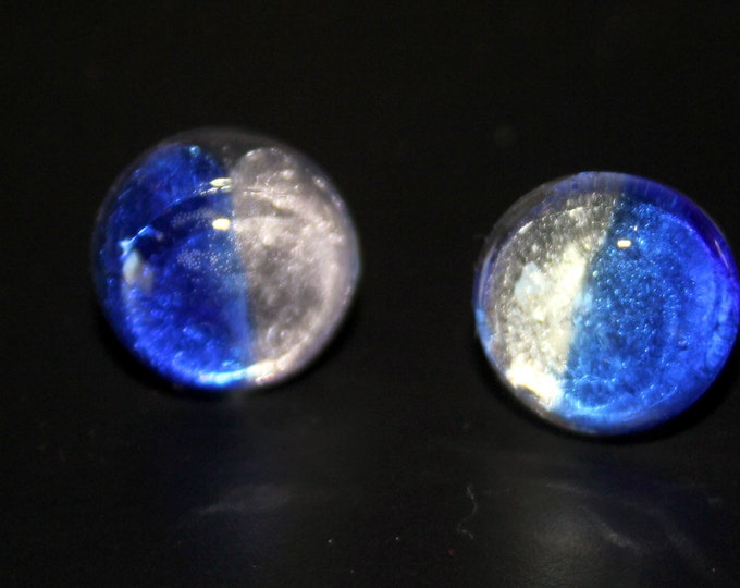 Phases of the Moon Fused Dichroic Glass Button Stud Backed Earrings in Several Color Choices (Blue, Purple, Silvery White)