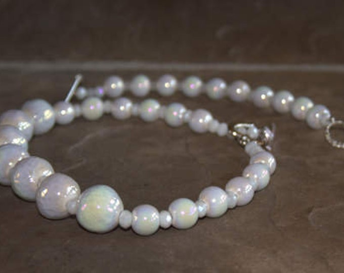 White Aurora Borealis Bead Necklace and Bracelet Set