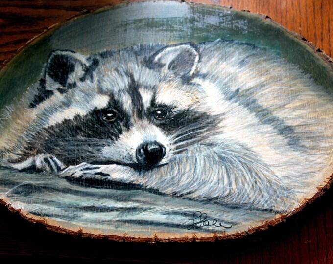 Rascal an Original Painting of a Raccoon on Native Montana Larch Slab