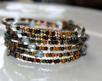 Earth Toned Seed Bead and Blue Crystal Wrist Wrap Cuff Stackable Bracelet
