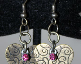 Antique  Brass Heart with Rose Crystal Earrings