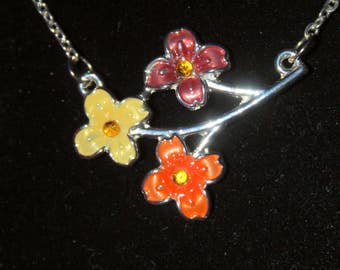 Enameled Flowers on Silver Stem Necklace