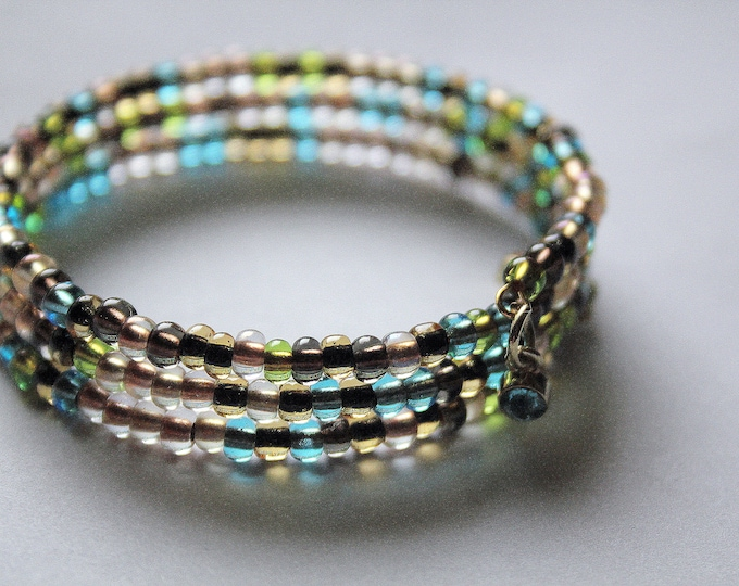 Stackable Tiny Beaded Forest Colors Wrist Wrap Cuff Bracelet
