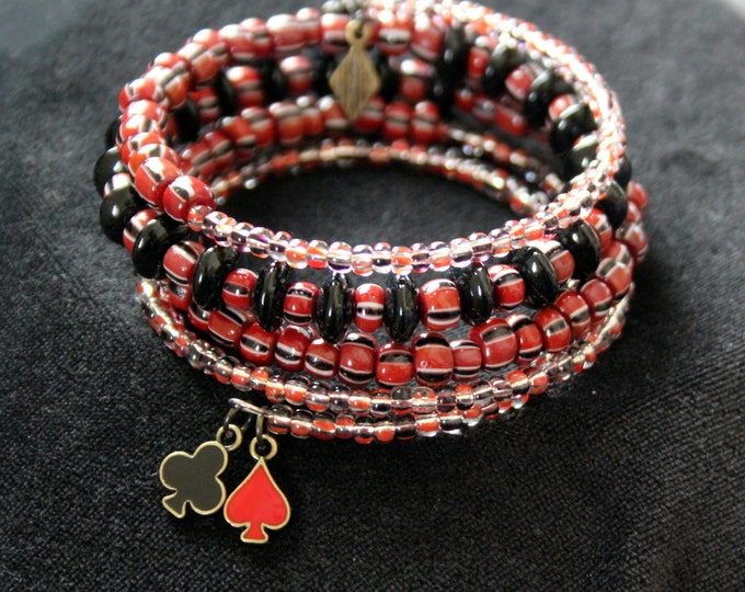 Vintage Mahogany(Sienna Red) Seed Bead and Black Beads Memory Wire Stackable Wrist Wrap Cuff Bracelet
