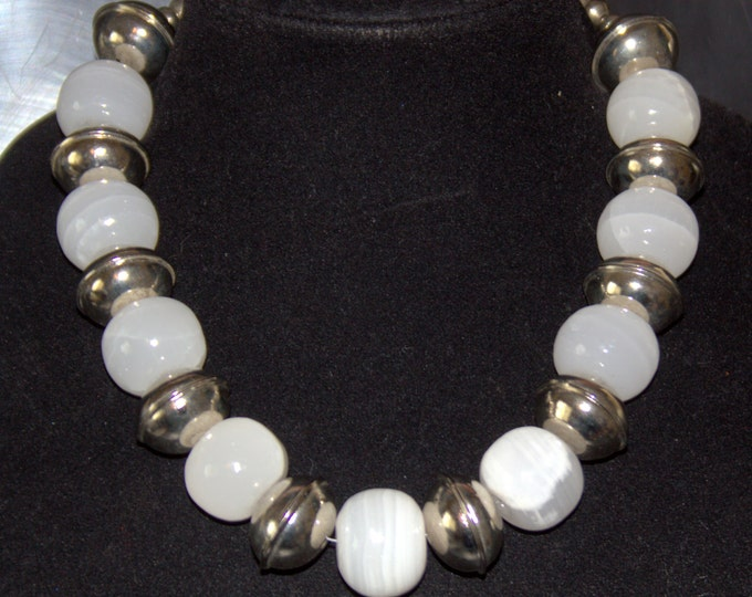 "Milky or ""Snow"" Quartz Round Crystal Beads with Silver Bali Beads Necklace"