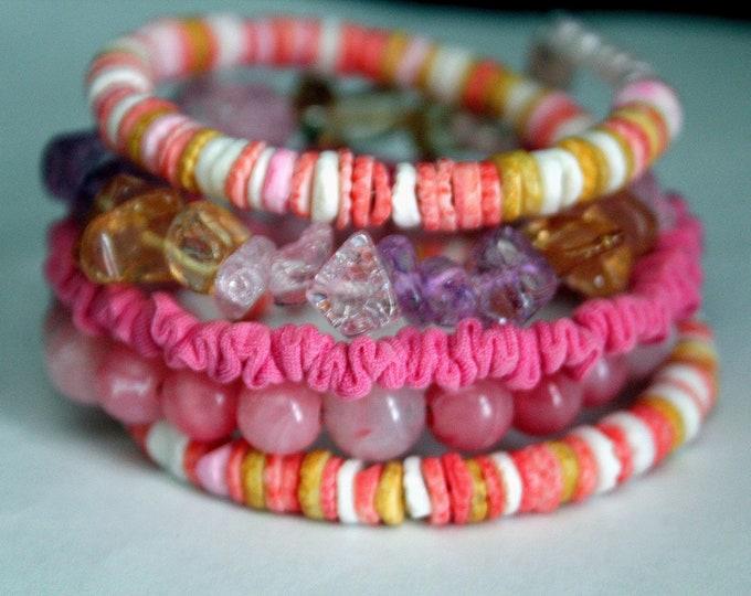 Pink, Yellow and Orange Heishi and Fabric Memory Wire Wrist Wrap Cuff Bracelet