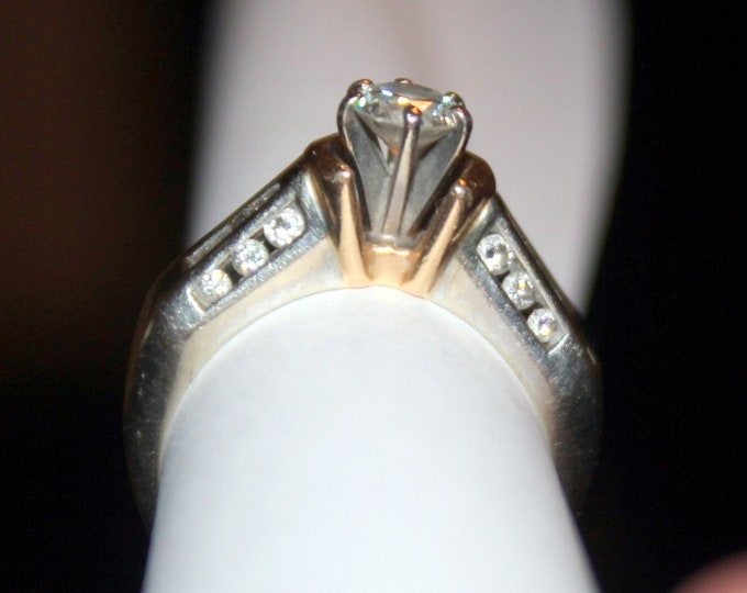 Vintage Engagement/Wedding Ring - 3/8 Karat Round Diamond in White Gold and Yellow Gold Size 6