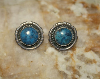 Lapis and Sterling Native American Made Earrings by Sarah Chee