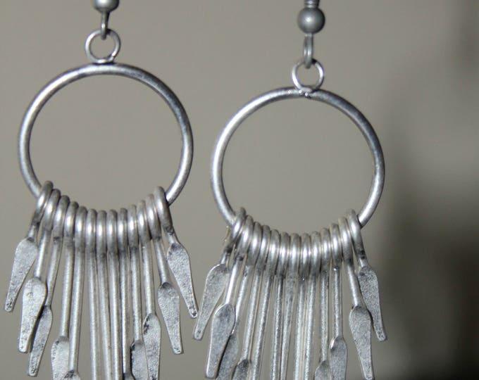 Hammered German Silver Paddle earrings