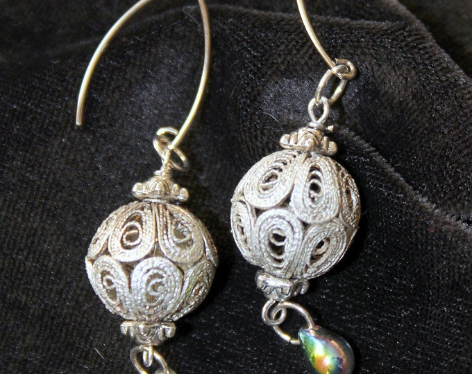 Vintage Japanese Coiled Silver Wire Bead Earrings
