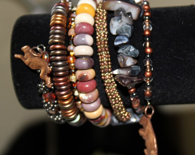 Stone, Mixed Beads and Mixed Metal Wrist Wrapping Stackable Cuff With Bear and Rabbit Charms