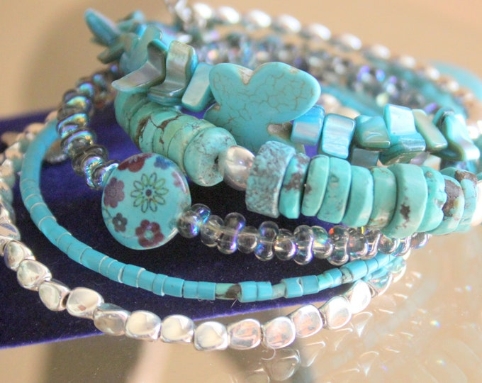 Turquoise Heart and Butterfly Wrist Wrap Stacked Memory Wire Cuff