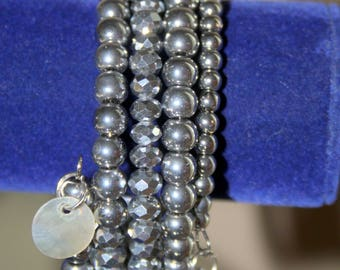 Silver Faceted Bead Memory Wire Wrist Wrap Cuff Bracelet