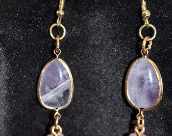 Amethyst and Gold Framed Drop Earrings
