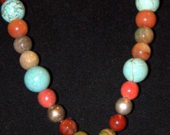Semi Precious Gems and Cross Necklace