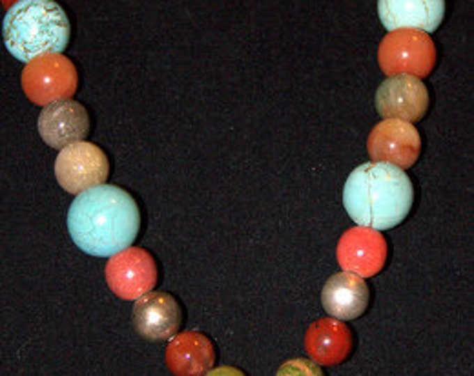 Semi Precious Gems and Cross Necklace